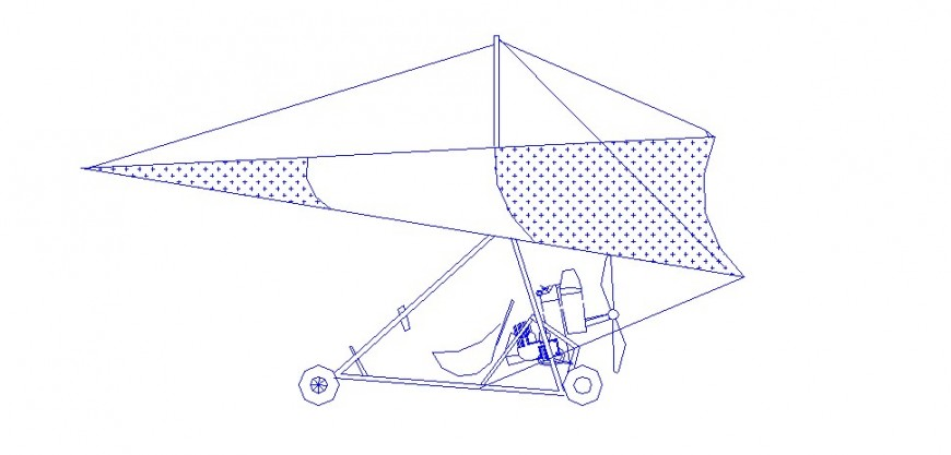 Para-suit type aircraft side elevation cad drawing details dwg file