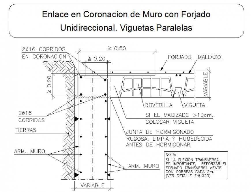 Parallel joists section plan dwg file