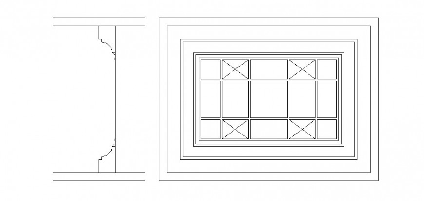 Parapet window elevation block and auto-cad drawing details dwg file