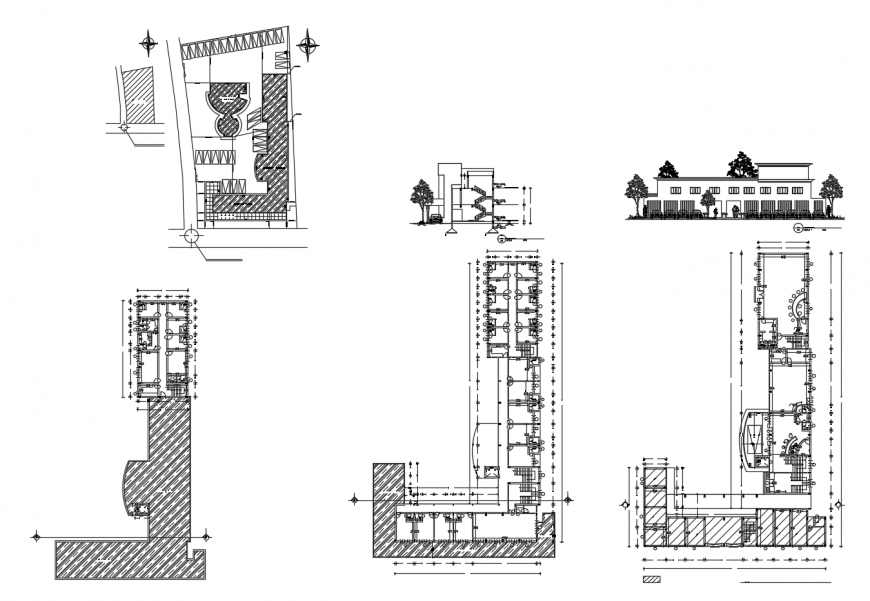 Paripalli hotel main elevation, section, floor plan and auto-cad drawing details dwg file