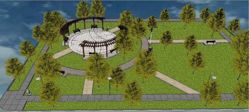 Park design and landscaping structure 3d model cad drawing details skp file