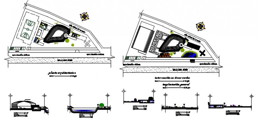 Park gate elevation, section and landscaping structure details dwg file
