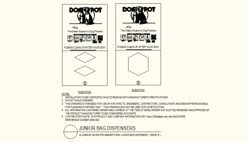Park junior bag detail plan layout file