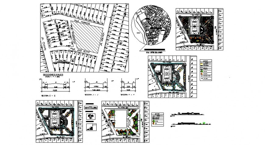 Park plan and section view in auto cad file