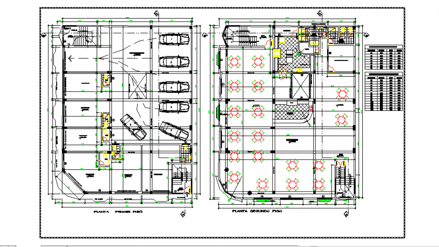 Parking & mess area in lodging house design drawing