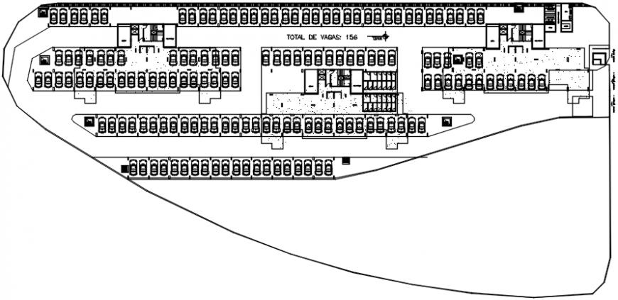 Parking floor layout plan details for residential building dwg file