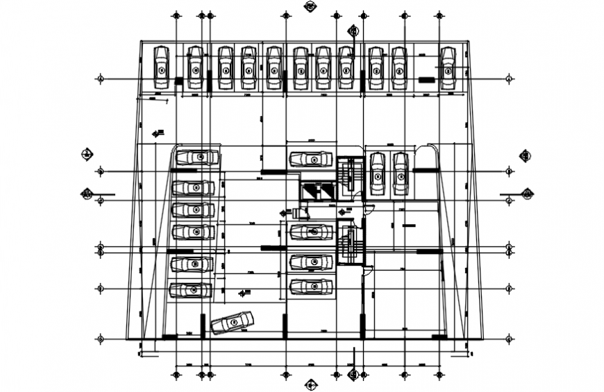 Parking floor layout plan drawing details for apartment building dwg file