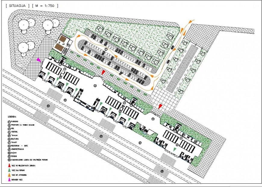 Parking plan detail 2d view CAD block layout file in autocad format