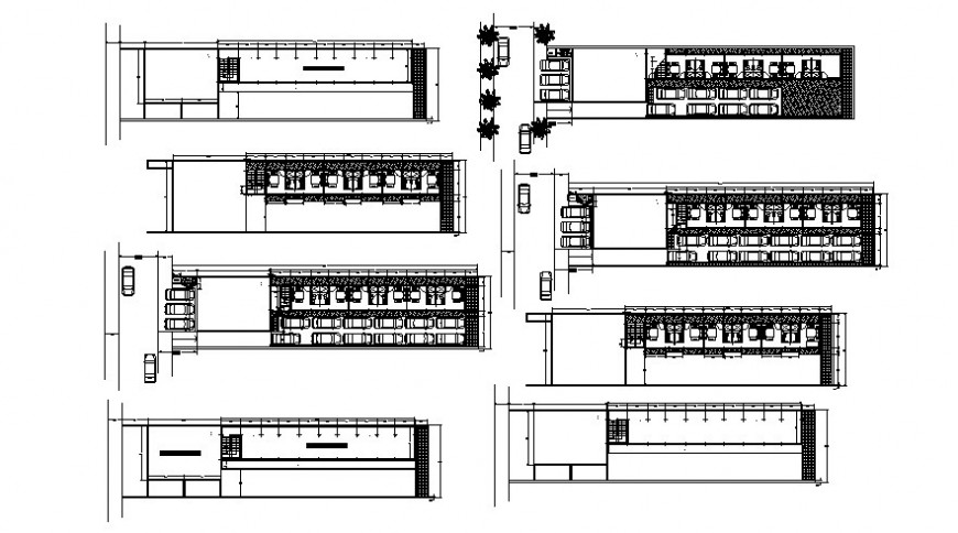Parking space area drawings 2d view autocad software file