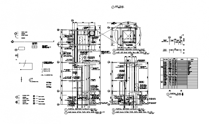 Partial section-constructive details of smoke tower high rise building dwg file