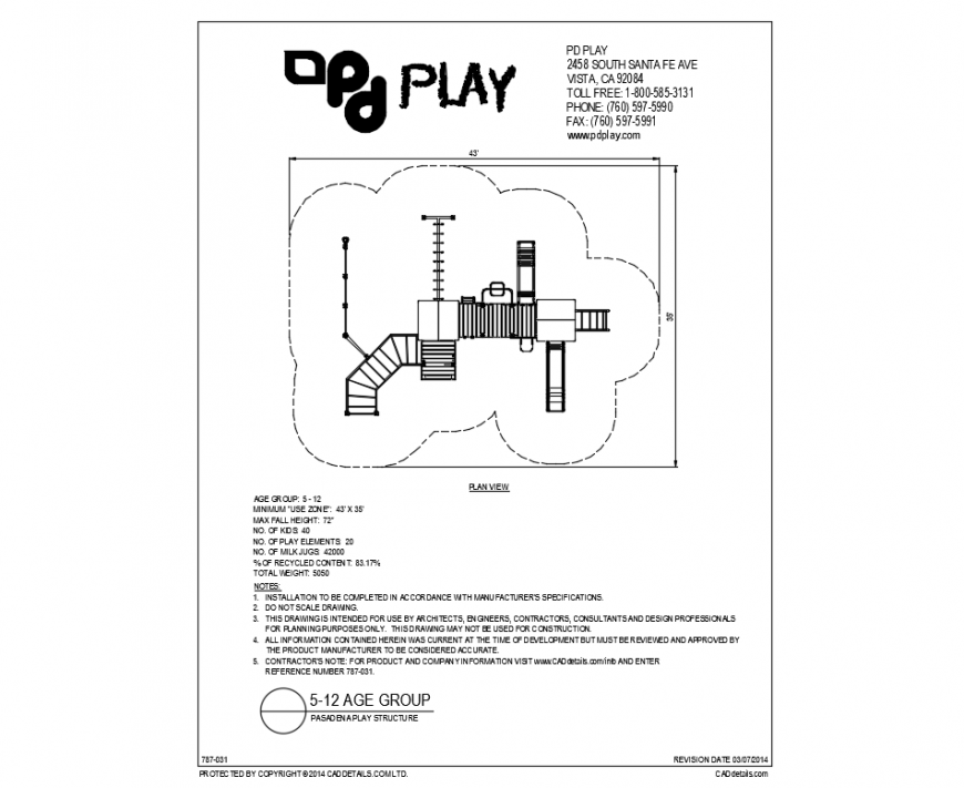 Pasandena play park plan and landscaping details dwg file