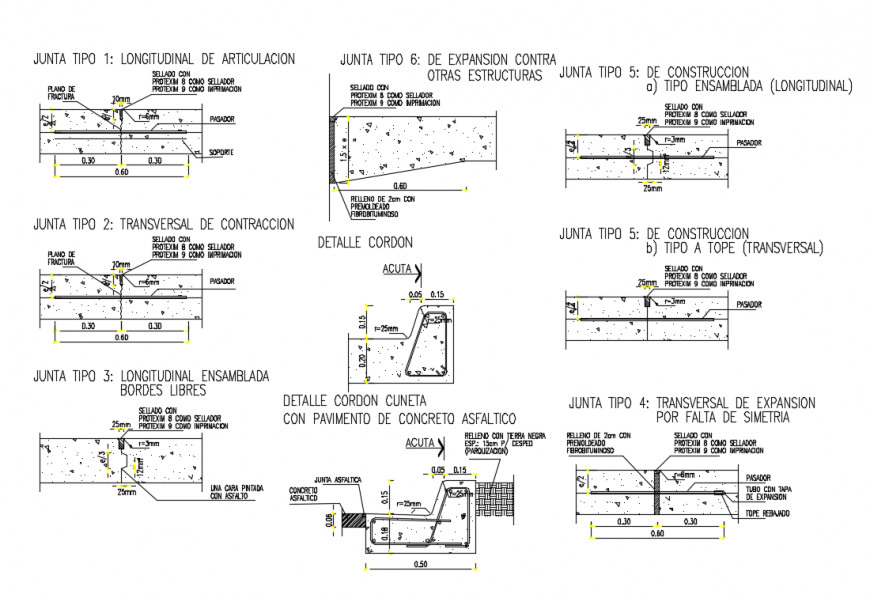 Pavement, side walk and cable stone construction cad drawing details dwg file