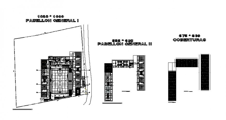 Pavilion floor plan of collage with door and window position in auto cad