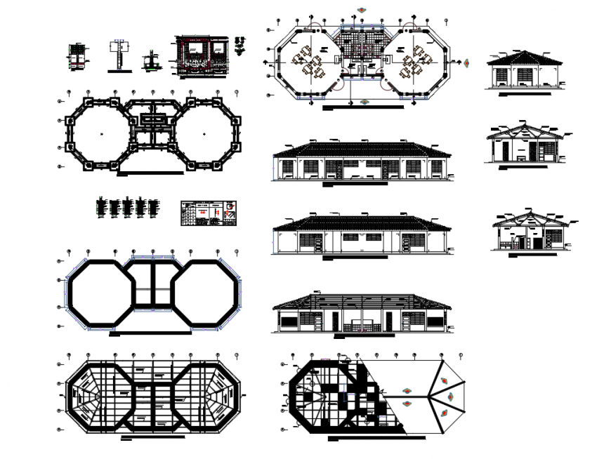 Pavilion home elevation, section, floor plan and auto-cad details dwg file