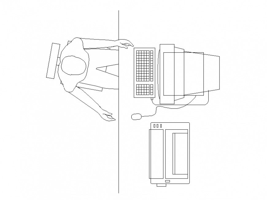 PC computer top view elevation block with employee dwg file