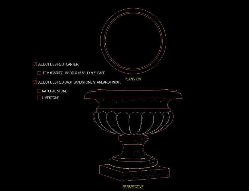 Pedestal large planter view of detail drawing in dwg file.