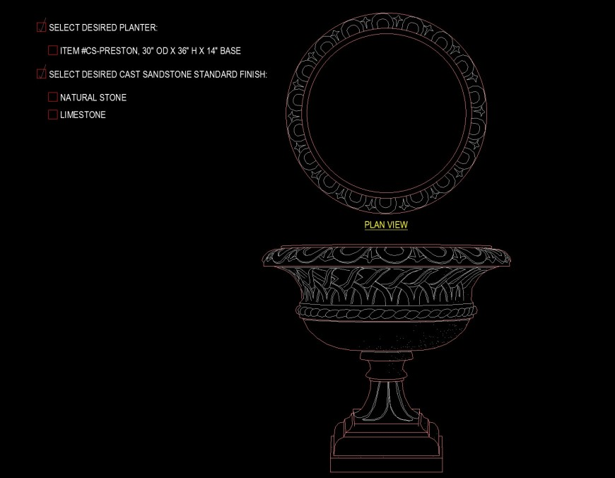 Pedestal planter all side carving drawing in dwg file.