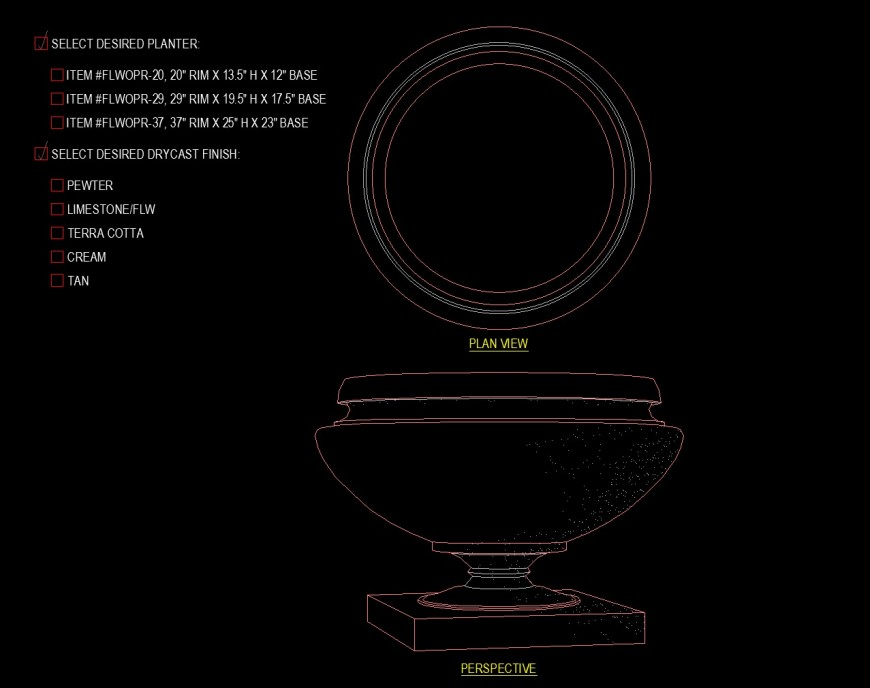 Pedestal planter drawing with large bowl drawing in dwg file.