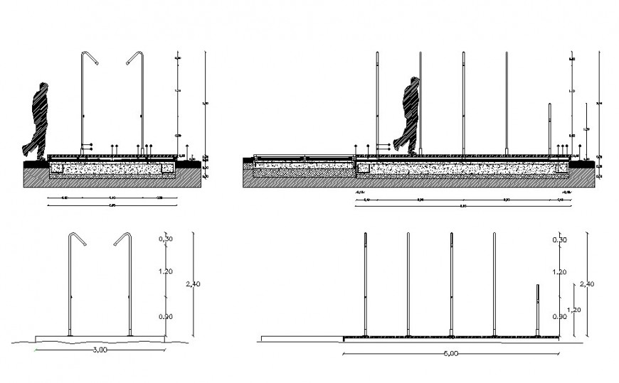 Pedestal walk for garden all sided section cad drawing details dwg file