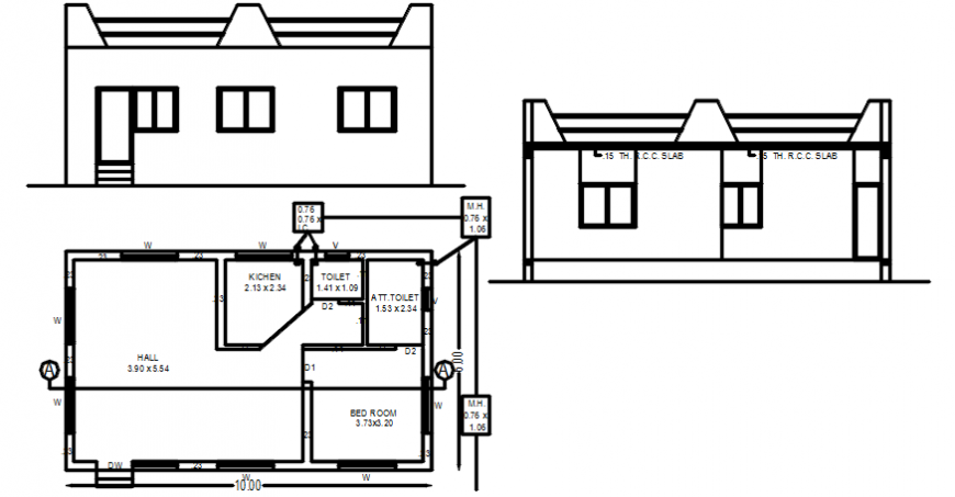 Pent house elevation and plan
