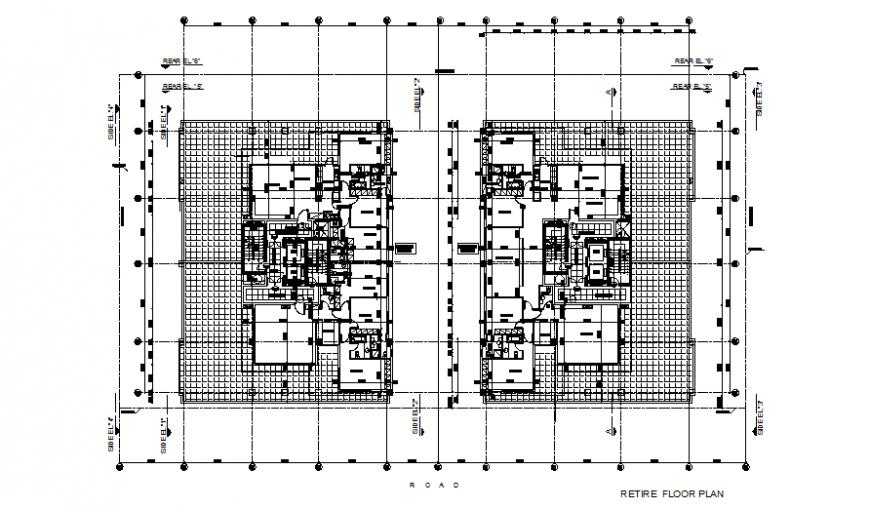 Pent house floor plan detail autocad file