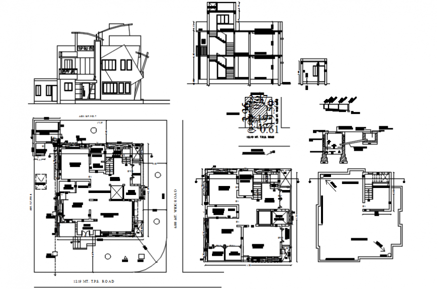 Pent house sectional elevation model