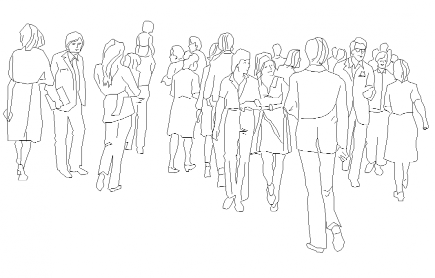People gathering detail elevation 2d view layout dwg file