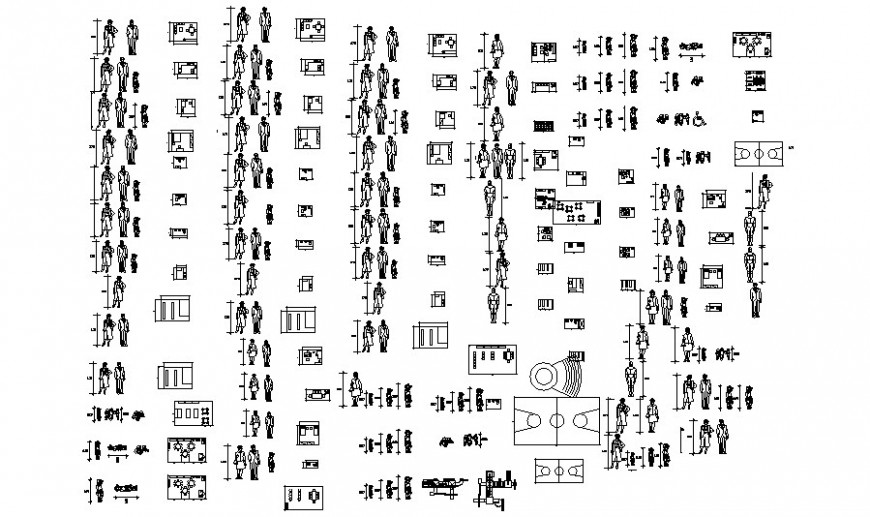 People blocks details drawing 2d view autocad file
