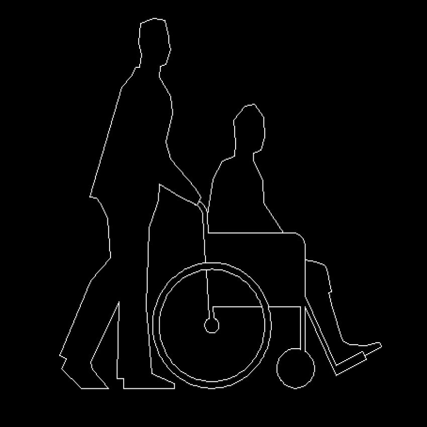 People blocks details with wheel chair cad design dwg file
