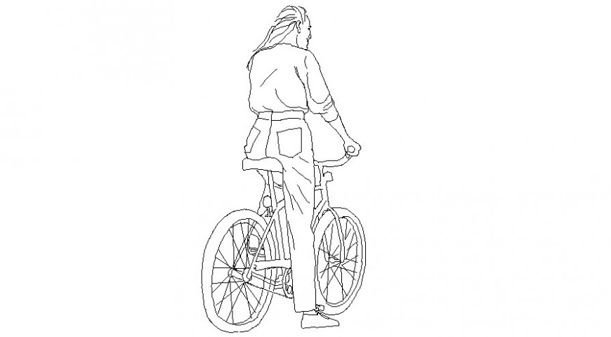People blocks of the lady on cycle autocad drawing