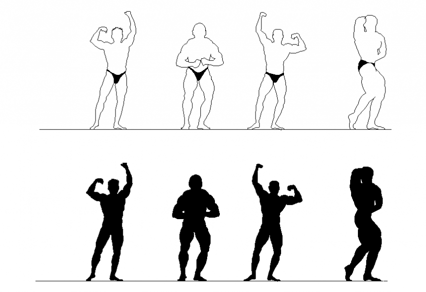 People body building posing blocks cad drawing details dwg file
