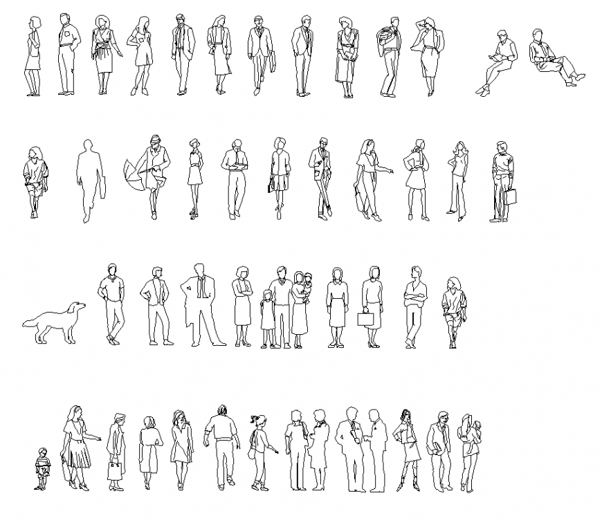 People CAD blocks detail  2d view layout file
