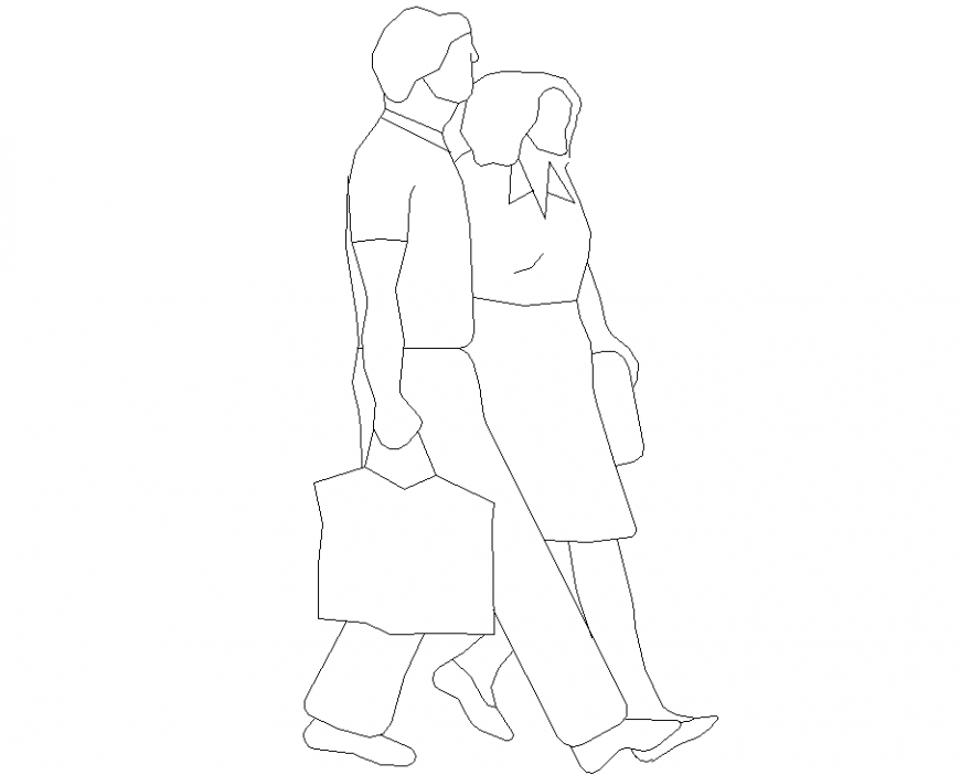 People couple plan with detailing dwg file.