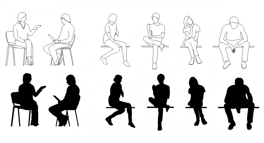 People doing different activity detail elevation 2d view layout file