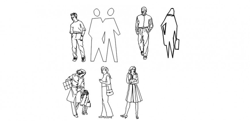 People library drawings detail 2d view autocad file