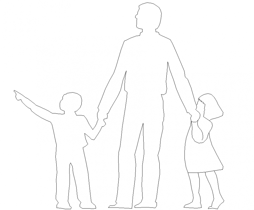 People plan with childrens detail dwg file.