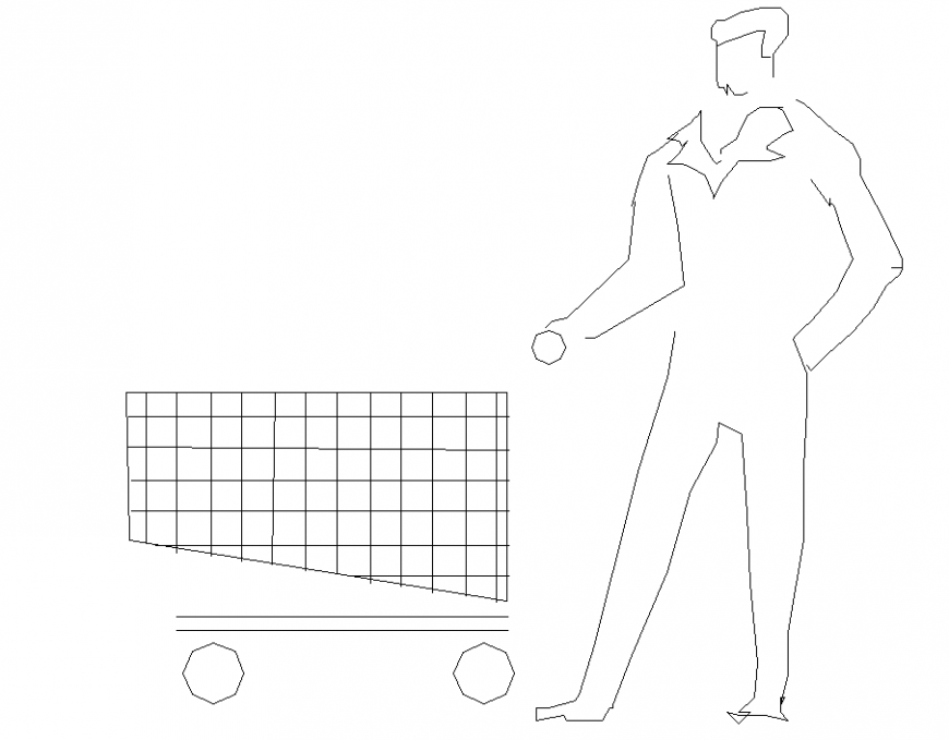 People plan with shopping with detail dwg file.