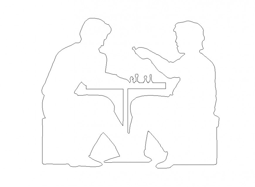 People playing chess game detail CAD blocks layout autocad file