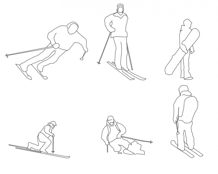 People skiing and snowboarding autocad file