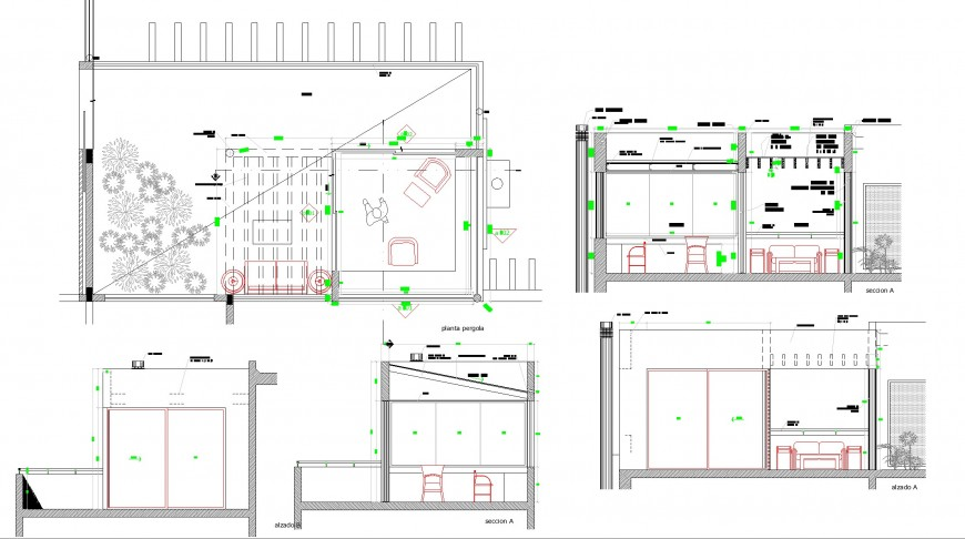 Pergolas detail plan and section autocad file