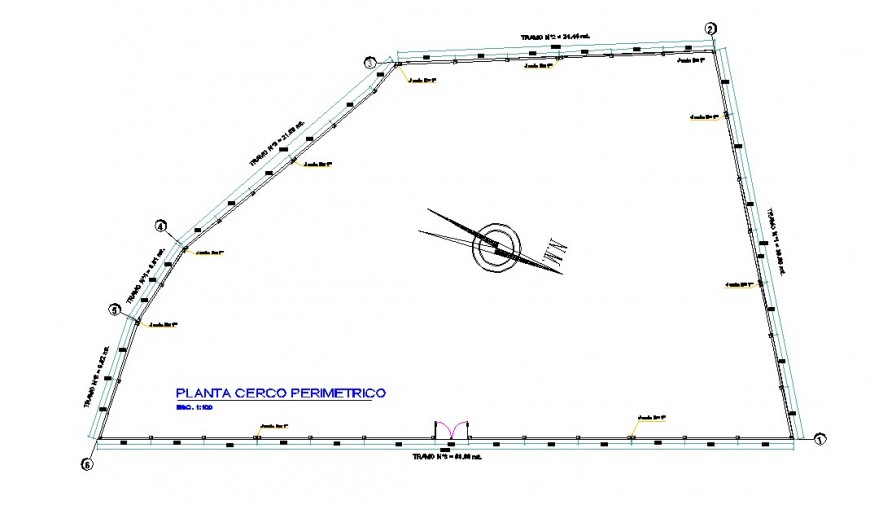 Perimeter fence plan detail dwg file