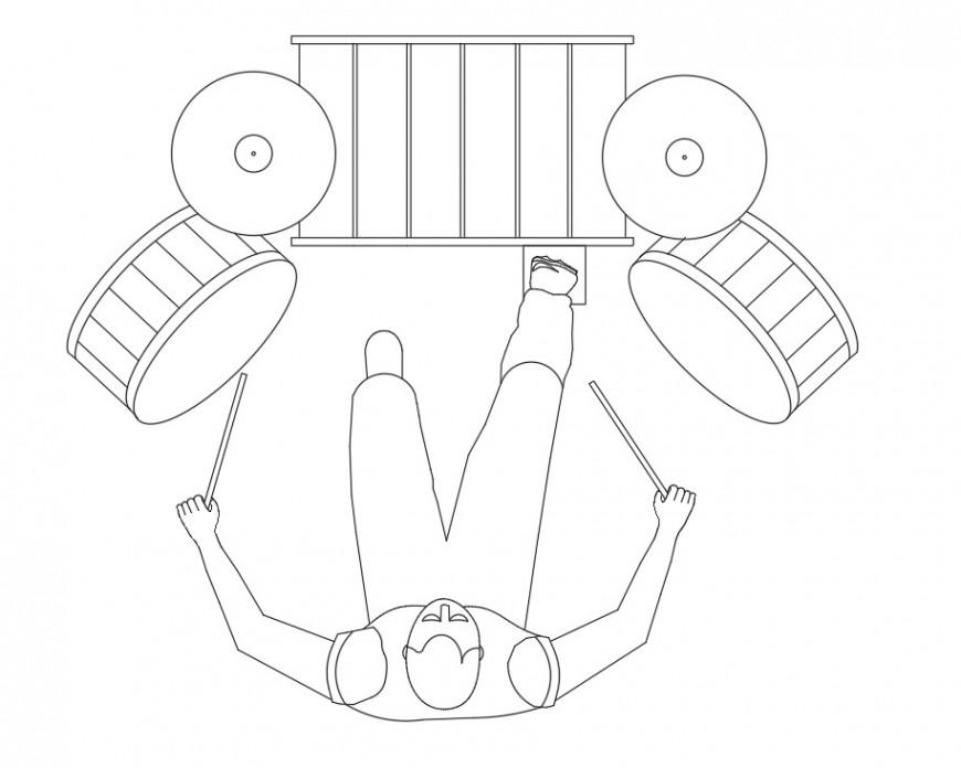 Person drumming plan layout file