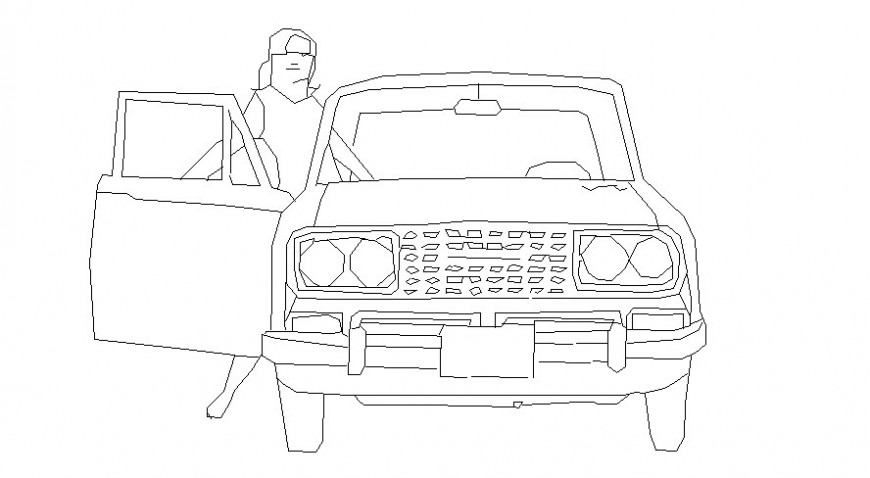 Person with car in block of AutoCAD file