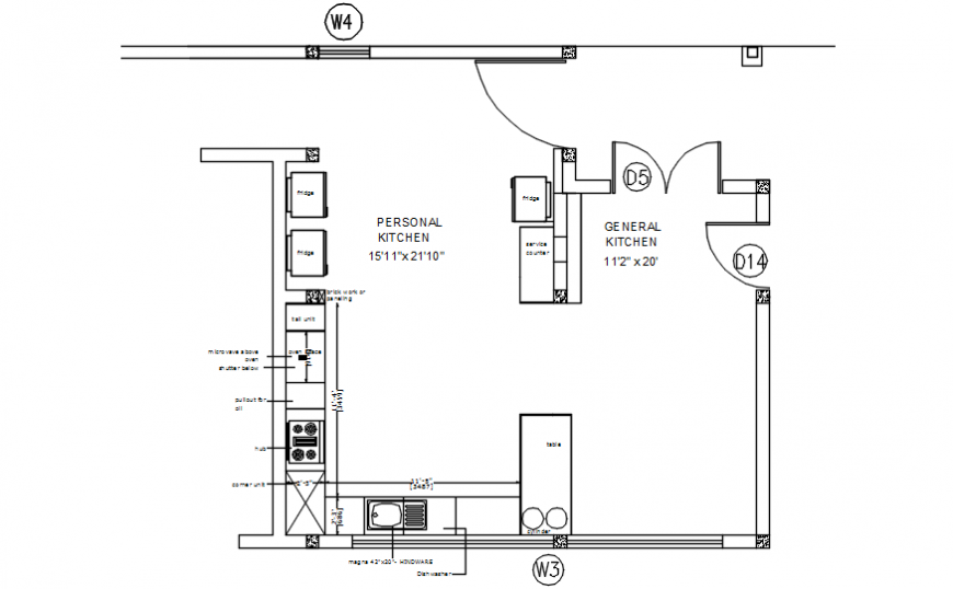 Personal and general kitchen plan with furniture cad drawing details dwg file