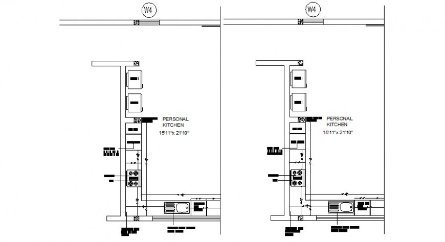 Personal kitchen distribution plan with furniture drawing details dwg file