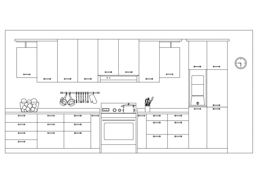 Perspective front view design of kitchen interior with crockery cad drawing details dwg file