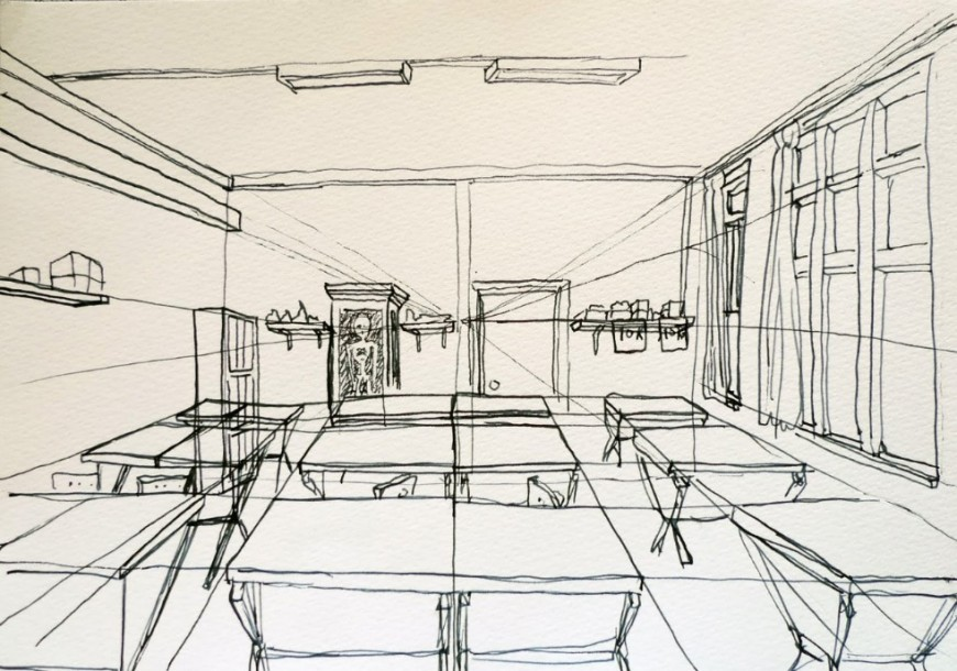 Perspective sketch of a classroom detail dwg file