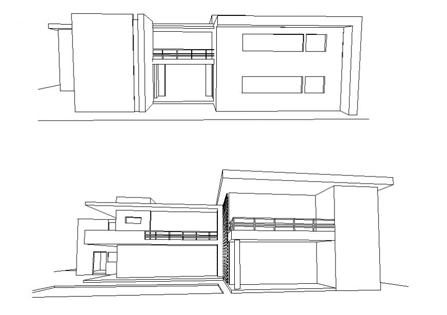 Perspective view of elevation of a modern bungalow