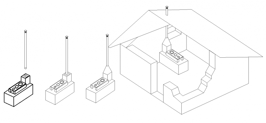 Perspective view of traditional stove drawing in dwg AutoCAD file.