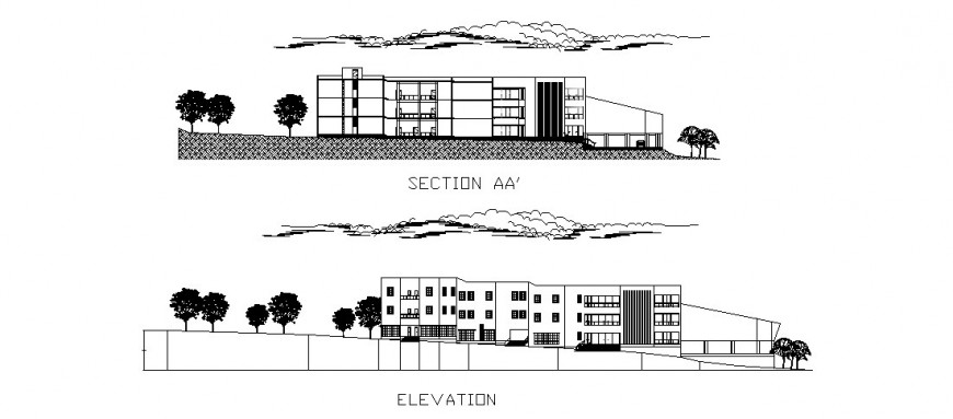 Pharmaceutical research institute detail elevation in dwg AutoCAD file.